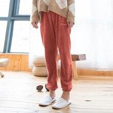 Женские штаны для сна на осень и зиму, плотные фланелевые теплые пижамные штаны для сна, женские домашние штаны, удобные штаны