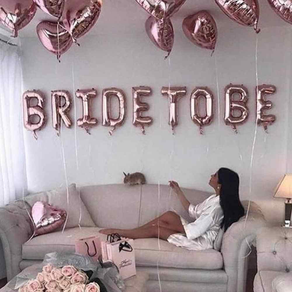 로즈 골드 신부 편지 포일 풍선 웨딩 신부 샤워 약혼 암탉 파티 장식 독신 파티 용품