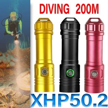 200M IPX8 profesjonalna latarka do nurkowania Led Cree XHP70 lampa podwodna Xhp50 latarnia rowerowa akumulator latarka do nurkowania światło tanie i dobre opinie HEDELI CN (pochodzenie) Odporny na wstrząsy Samoobrona Twarde Światło Bez regulacji HQ402 HQ403 500 metrów 5-8 plików