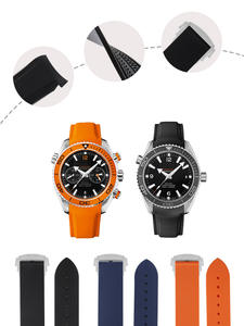 Watch-Bands Rubber Curved-End Omega-Watch Seamaster-007 Seiko-Strap 20mm 21mm Silicone