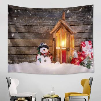 Merry Christmas Tapestry Wall Hanging Cute Snowman Balls Gifts in Snow for Bedroom Living Room