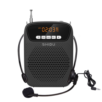 SHIDU 15W Portable Voice Amplifier Wired Microphone FM Radio AUX Audio Recording Bluetooth Speaker For Teachers Instructor S278 portable fm radio loudspeaker with microphone voice amplifier booster megaphone speaker for teaching tour guide sales promotion