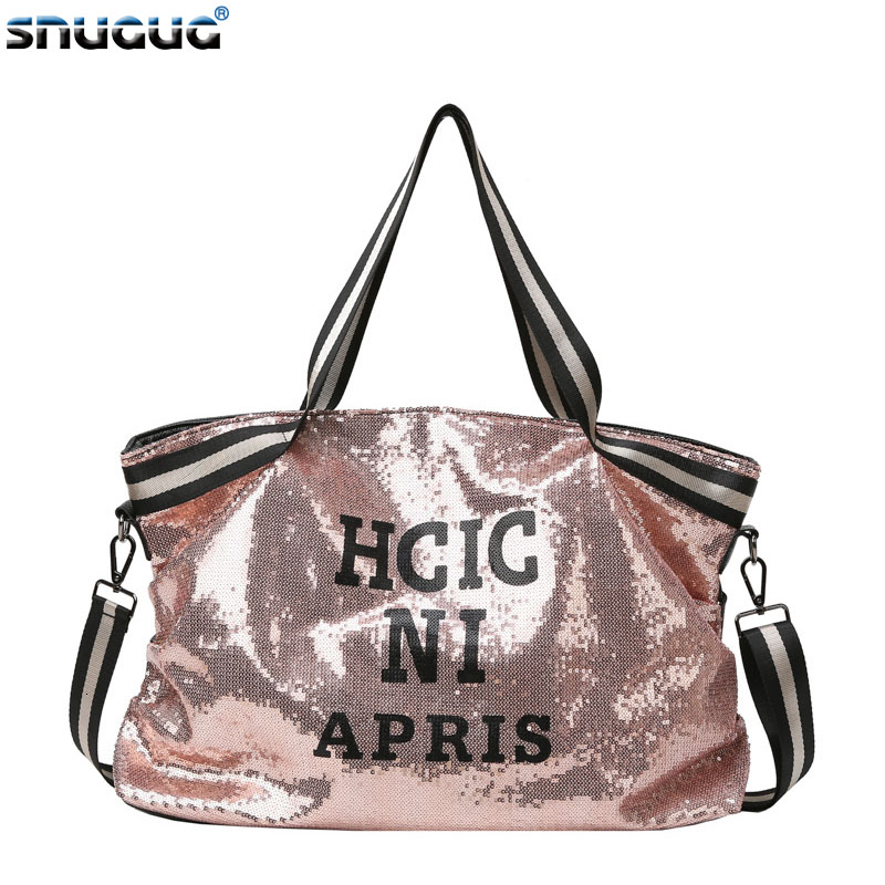 2019 Sequins Women Gym Bag For Fitness Leather Sports Bag Shoulder Crossbody Bag Tote Travel Duffel Handbag Yoga Bag