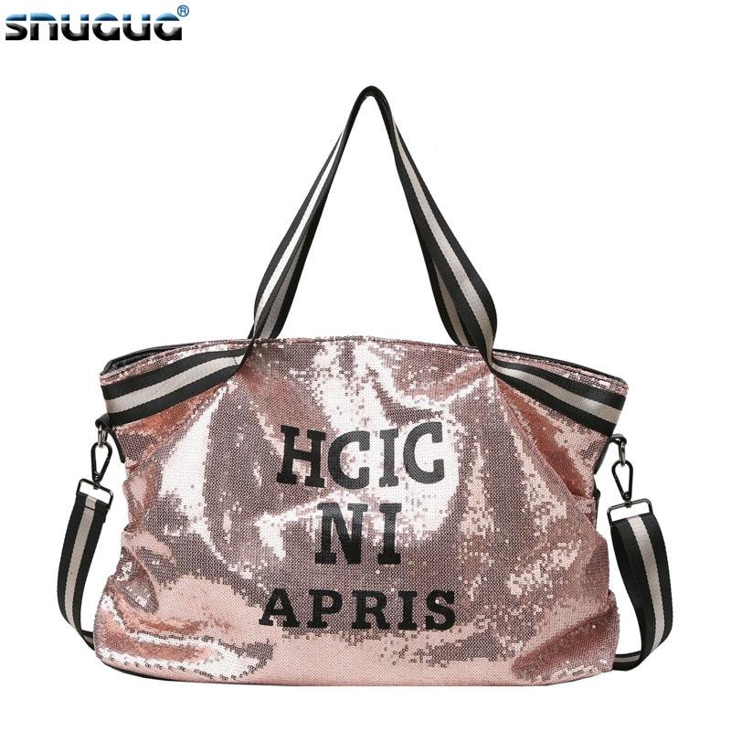 2019 Sequins Women Gym Bag For Fitness Leather Sports Bag Shoulder Crossbody Bag Tote Travel Duffel Handbag Yoga Bag