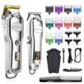 Профессиональная машинка для стрижки волос Hatteker, металлический электрический беспроводной триммер для мужчин, Парикмахерская с ЖК-дисплее...