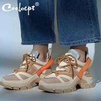 Coolcept Chunky Sneakers Women Real Leather Casual Shoes Lace Up Thick Sole Platform Daily Women Vulcanized Shoes Size 35 39