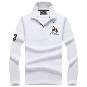 Image 2 - Plus size Mens POLO Shirts Brand Cotton  Long sleeve Camisas solid embroidery Polo Summer Stand Collar Male Polo Shirt
