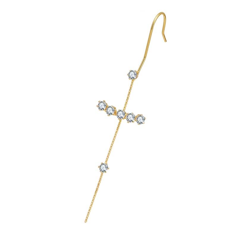 Fashion Crystal Zirconia Stud Earrings For Woman Geometric Cross Chain Hook Earrings Pearl Cuff Earrings Climber Earrings Gifts
