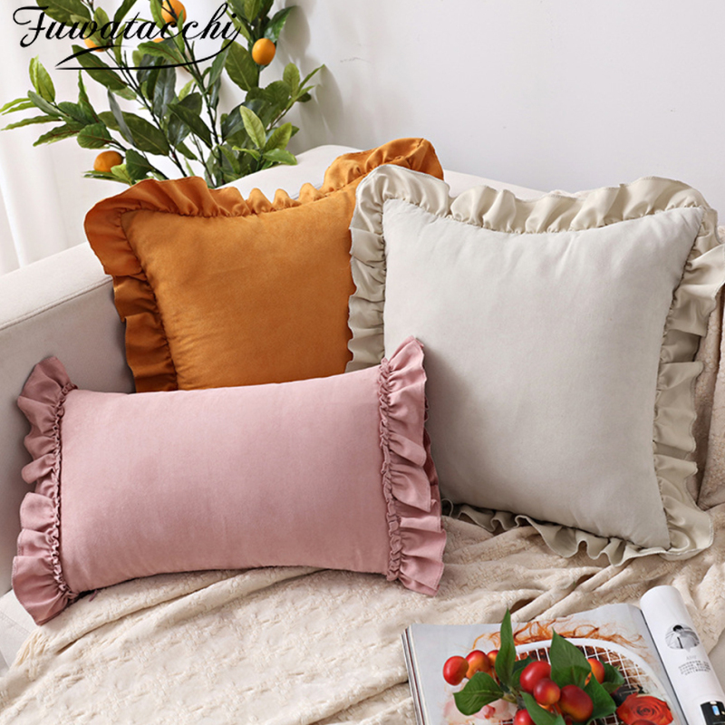Fuwatacchi Lotus Leaf Pillow Cover Hipster Pillow Suede Sofa Cushion Cover Pink Pillow Cover Case Pillowcase 45x45 30x50cm