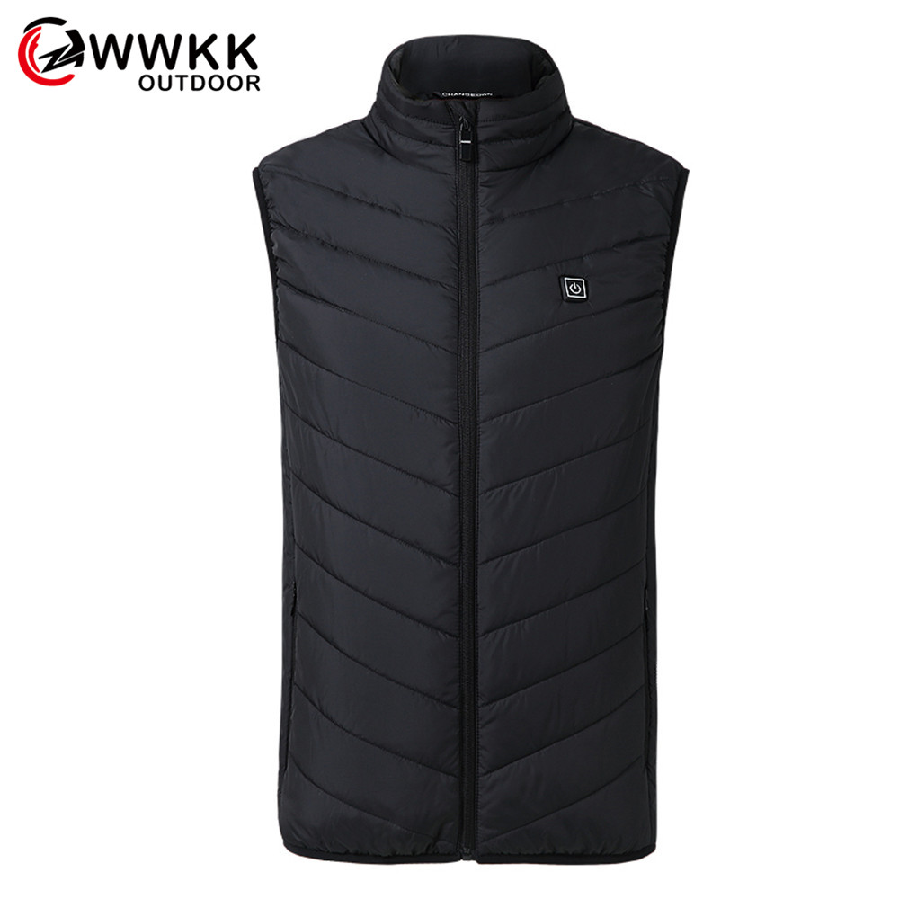WWKK, новинка, мужской жилет для походов с USB подогревом, зимняя спортивная ветровка из углеродного волокна, электрическая Теплая мужская курт...