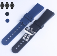 Black bule Silicone Rubber Watch band Diving Sport Waterproof For fit BLANCPAIN Fifty Fathoms Rubber Strap Band 23mm X 20mm