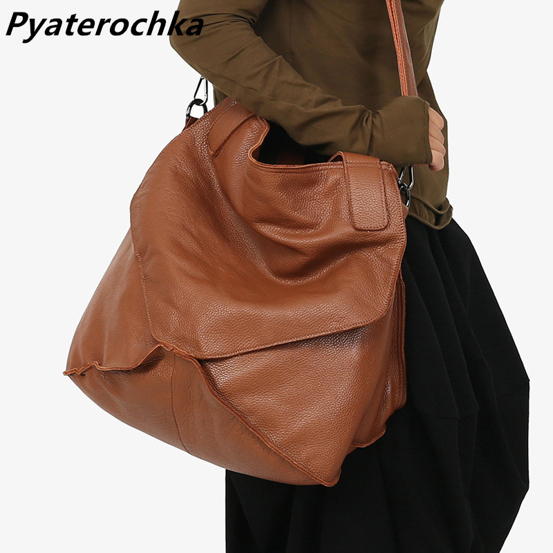 Pyaterochka Big Genuine Leather Handbag Women Large Vintage Shoulder Bag Ladies Bucket Hand Bags Luxury Famous Brand Casual Tote