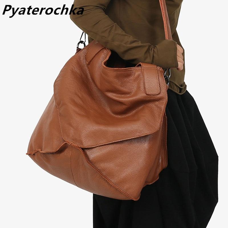 Pyaterochka Big Genuine Leather Handbag Women Large Vintage Shoulder Bag Ladies Bucket Hand Bags Luxury Famous Brand Casual Tote