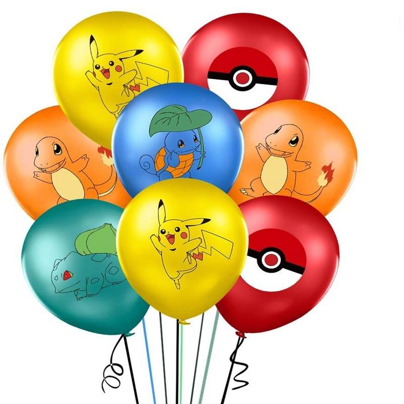 10pcs Set 12 Inch Anime Pokemon Pikachu Squirtle Theme Party Children 'S Birthday Latex Balloon Baby Shower Decoration Kids Toys