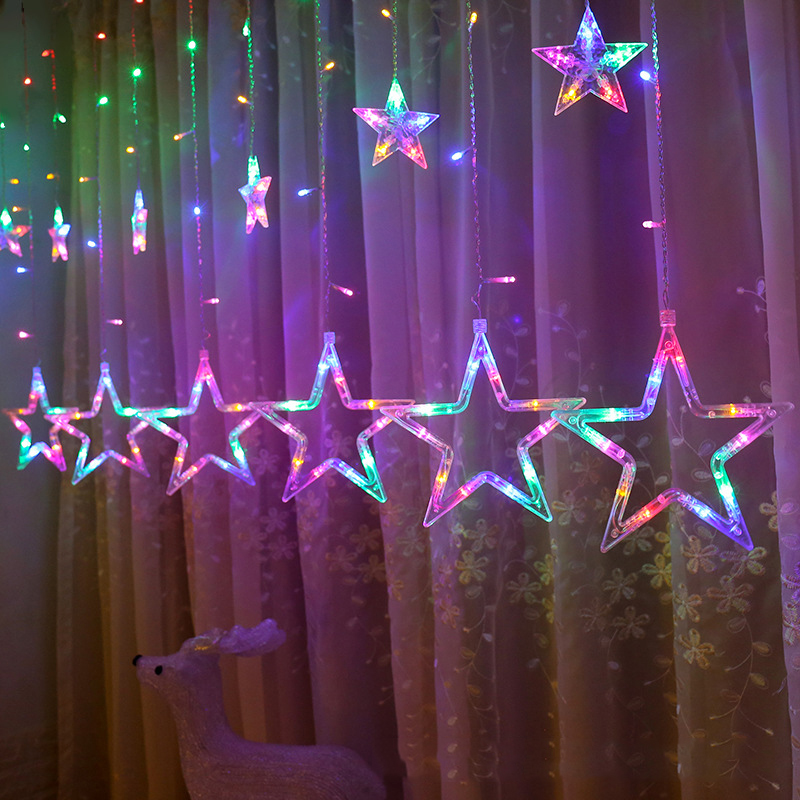 2.5M Christmas Garland Star Fairy Light Curtain LED Icicle String Lamp For Outdoor Xmas New Year Decor Lighting