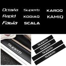 Carro-estilo 4 pçs porta limiar de proteção de fibra de carbono adesivo para skoda octavia fabia yeti rápido superb kodiaq scala karoq