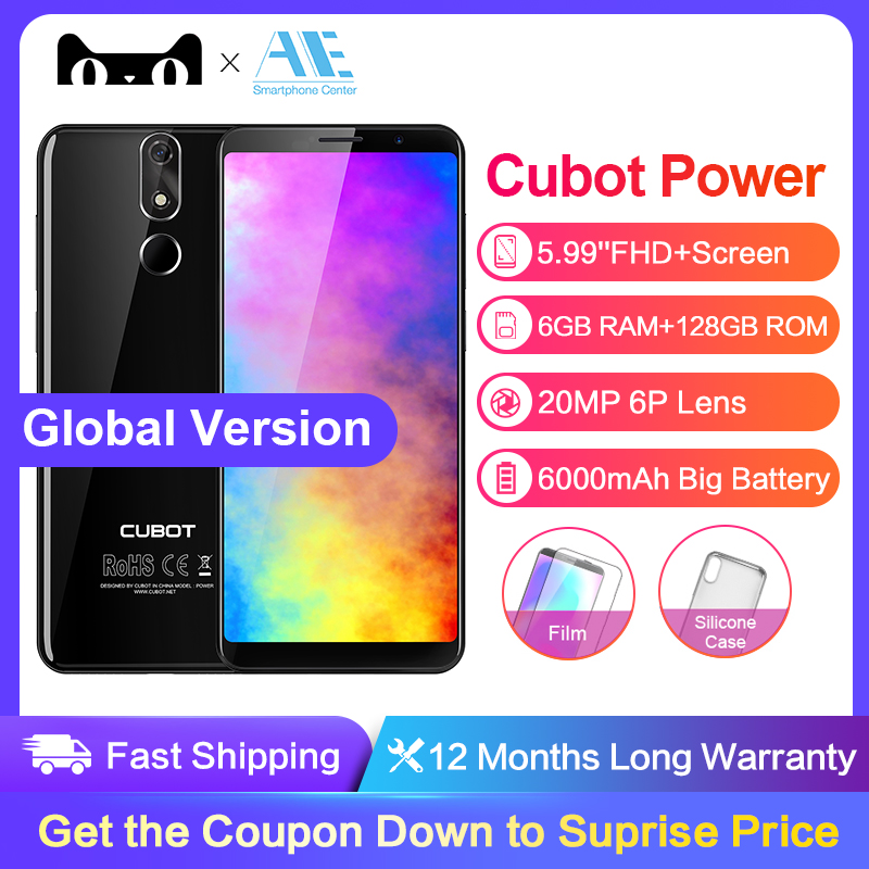 Cubot Power 5.99 Inch Full Screen 6GB RAM 128GB ROM Cell Phone MT6763T Octa-Core 6000mAh 4G Android 8.1 Fingerprint Mobile Phone
