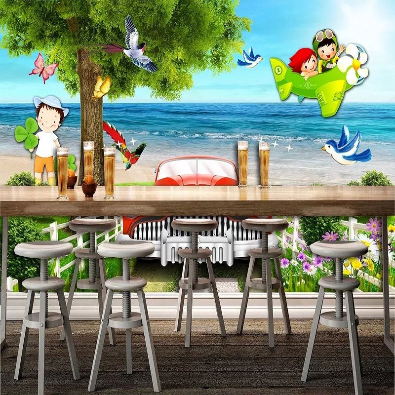 New Custom Large Mural 3D Wallpaper Cartoon Airplane Car Birds Tree Children's Bedroom Mural TV Back Wall Decor Deep 5D Embossed