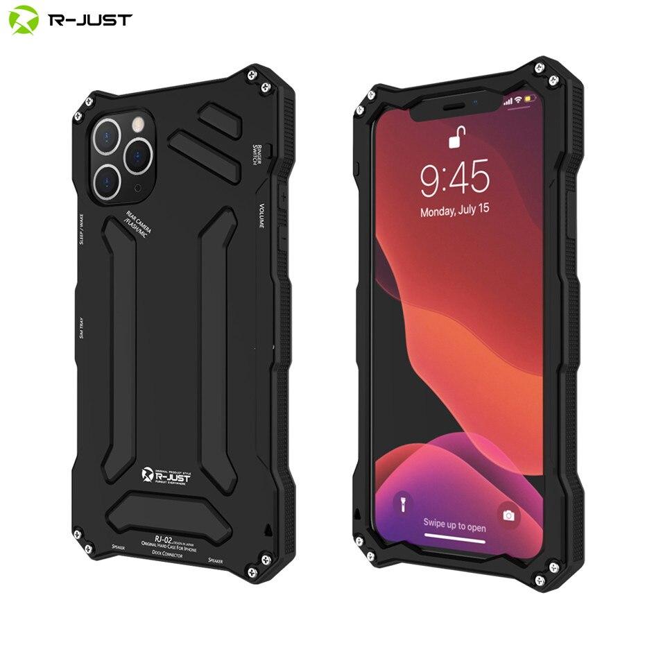 R-just pour Iphone 11 Pro Max antichoc étanche armure en métal étui pour Iphone 11 5.8 6.1 6.5 2019 couverture de protection complète robuste