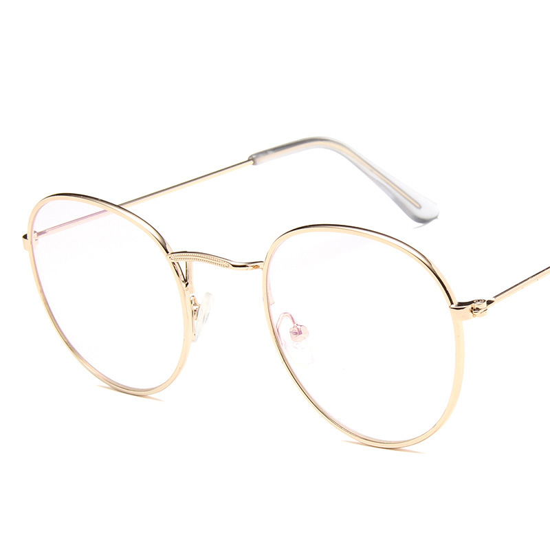 Metal Retro Pattern Edge Women Glasses Frame Literature and Art Original Circular Frame Eyeglasses Current Flat Light Spectacles