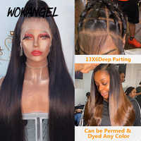 Peluca de cabello humano brasileño con división frontal para mujer Peluca de cabello humano liso 13x6 con malla con división frontal 180% prearrancada, encaje negro