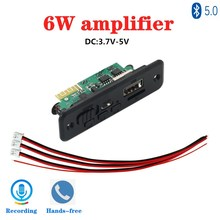 2*3W Amplifier Bluetooth 5.0 MP3 Player Decoder Board 5V  Car FM Radio Module Support FM TF USB AUX Handsfree Call Record
