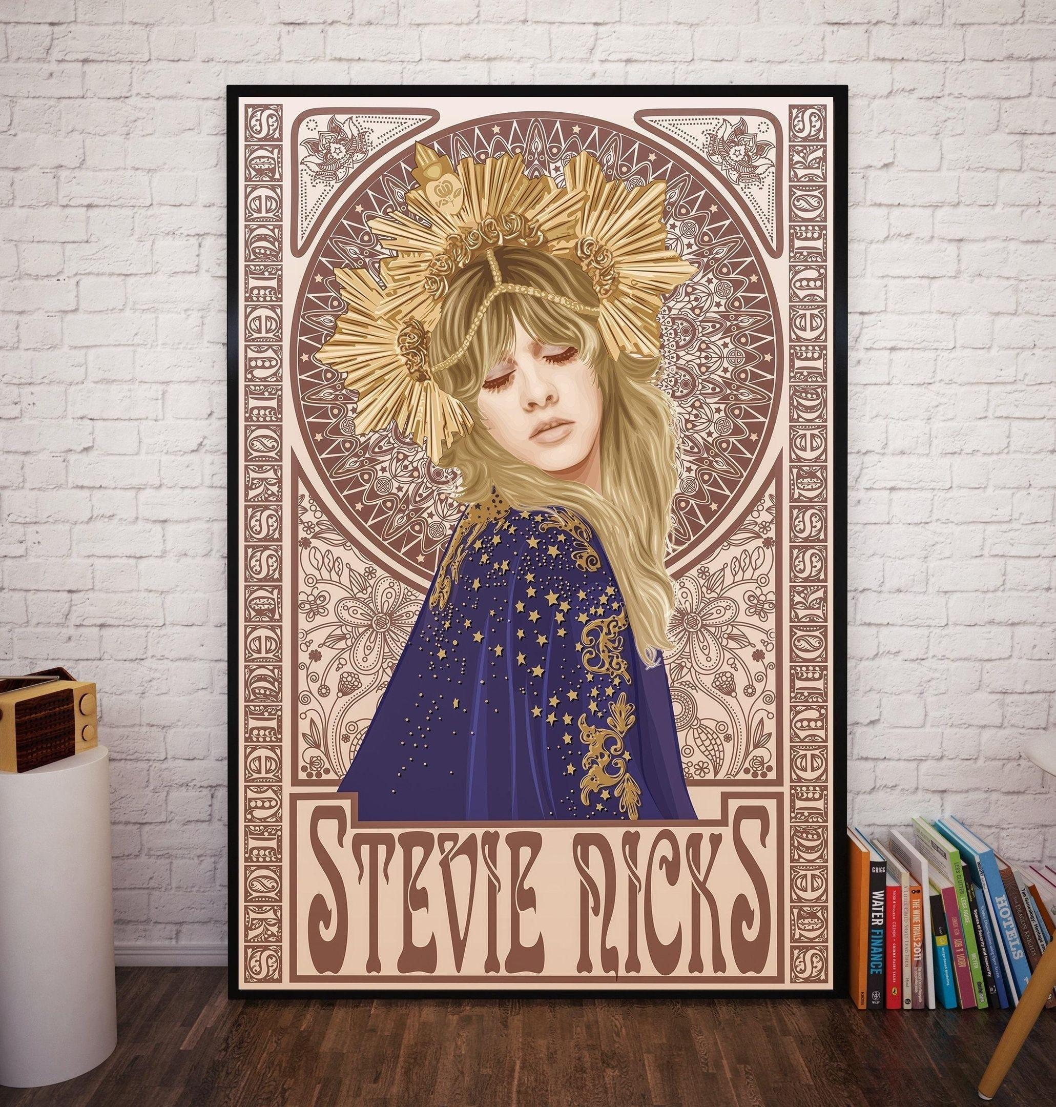 Steve Nicks Mucha – affiche en soie, peinture décorative, 24x36 pouces