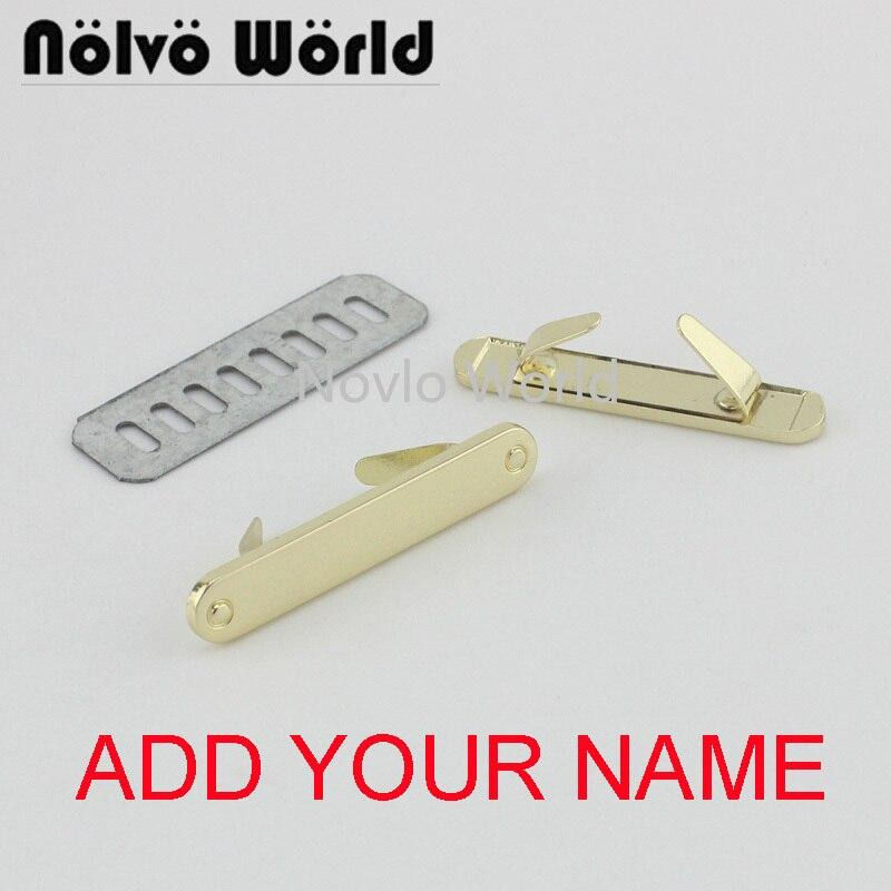 5-20-100 Pieces,write YOUR NAME 44*8mm Light Gold Handbag Rectangle Ornament Metal Purse Label Tags,Make Bag Purse Metal Label