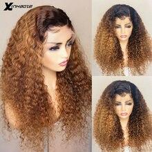 Pelucas de cabello humano rizado brasileño, 1b/27, parte profunda, 13x6, cabello Remy Natural prearrancado, 360 de encaje Frontal