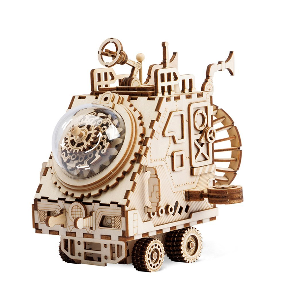 Diy Creative Children'S Gift 4D Wooden Music Box Mechanical Music Box Home Decoration Star Space Exploration Spacecraft Crafts