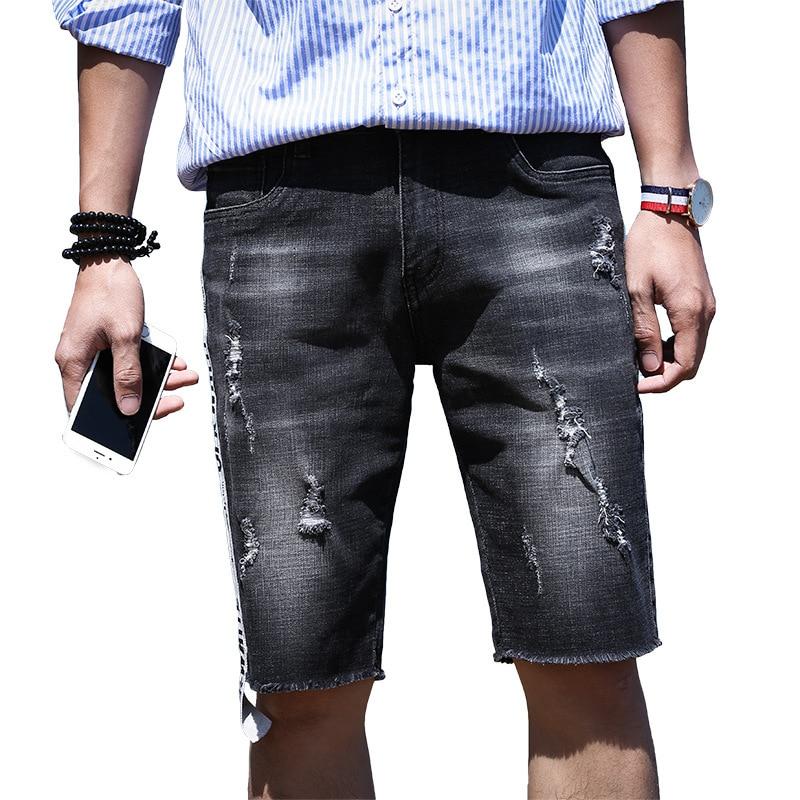 Black Shorts Men Print Short Jeans Straight Cotton Shorts Jean Bermuda Male Denim Brand Clothing Size 29-37