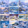 HUACAN Paint By Number House Winter Drawing On Canvas HandPainted Painting Art Gift DIY Pictures By Number Snow Kits Home Decor