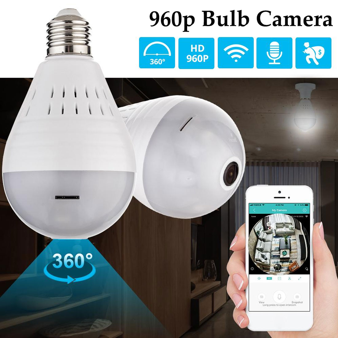 360 Degree LED Light 960P Wireless Panoramic Home Security Security WiFi CCTV Fisheye Bulb Lamp IP Camera Two Ways Audio