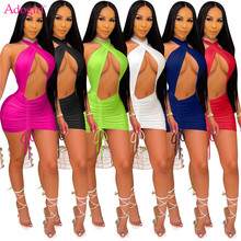 Adogirl Plus Size S-3XL Women Solid Halter Drawstring Mini Dress Hollow Out Cross Backless Bodycon Night Club Beach Party Robe