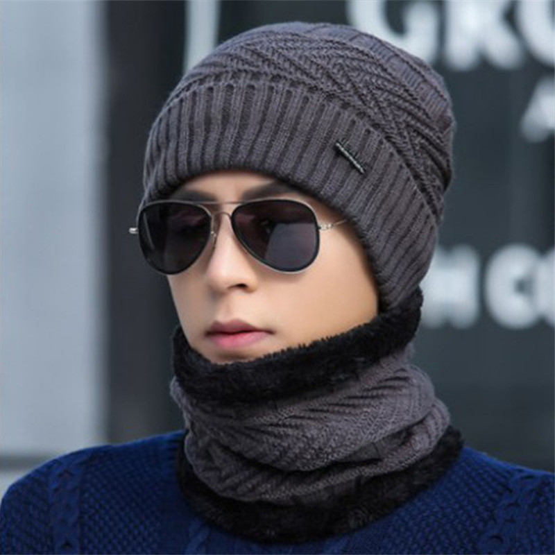 New Winter Men Beanies Scarf Set Cotton Knitted Warm Hat And Neck Scarf Bonnet Winter Hats For Men Women Skullies Beanies Hats