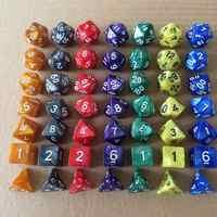 Juego de dados de varios lados, juego de 7 unidades por juego, Color mixto D4 D6 D8 D10 D12 D20 DND dicepara fiestas, TRPG