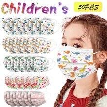 Mascarilla facial desechable con estampado para niños, de 3 capas cubrebocas con dibujos animados, antipolvo, 50 Uds.