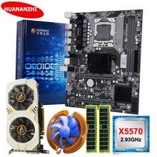 Материнская плата HUANANZHI X58 LGA1366 с видеокартой GTX750Ti 2G ЦП Xeon X5570 2,93 ГГц RAM 8G(2*4G) RECC, материнская плата для самостоятельной сборки