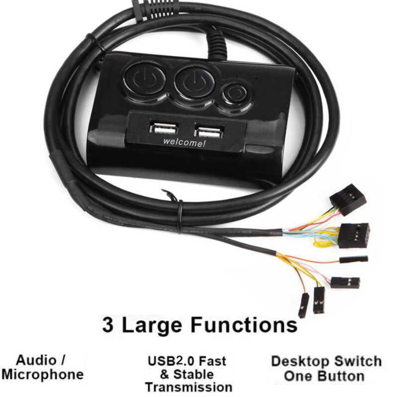 New Multifunction Desktop PC Switch 2 USB Ports Audio Microphone Port Computer Switch External Power Switch On/Off Reset Button