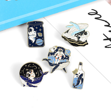 Whale and Astronaut Enamel Pin Adventure Ocean Drifting Wishing Bottle Brooches Bag Lapel Pin Badge Jewelry Gift for Friends