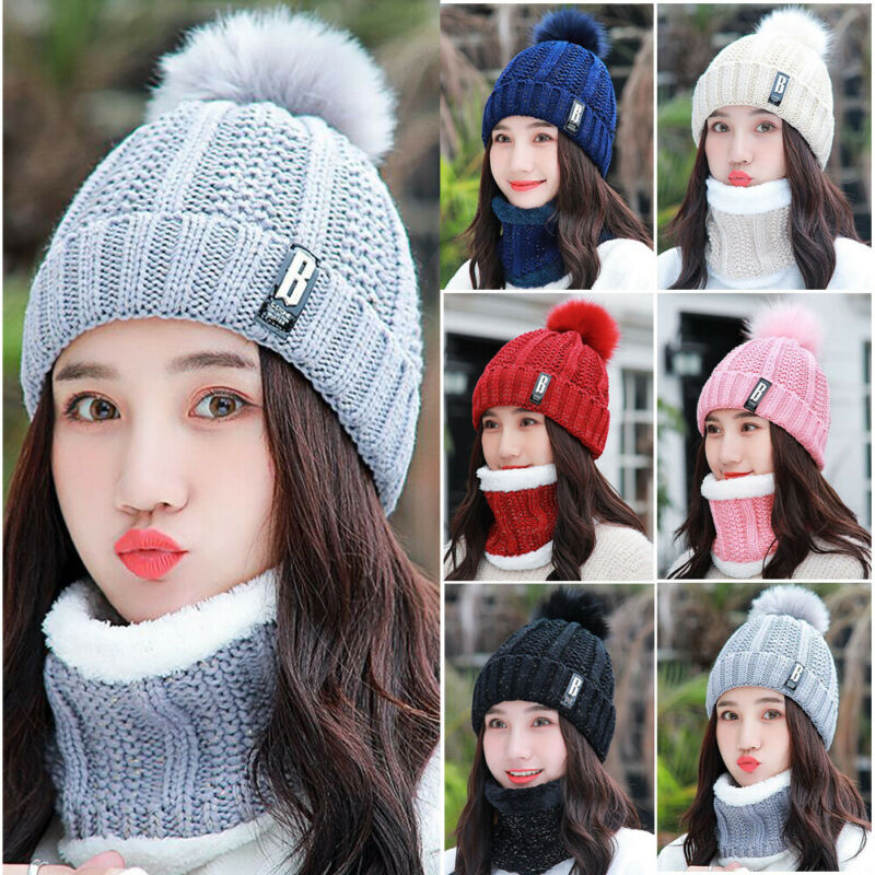 2Pcs Set Winter Women Knitted Hat Scarf Fashion Wool Thickening Hat Collars Female Warm Hat Scarf Set Snow Caps
