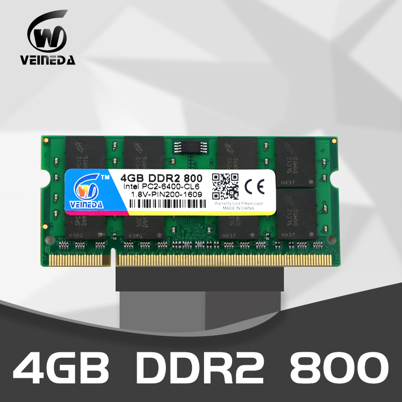 VEINEDA Laptop memory <font><b>ddr2</b></font> 4gb 2gb 533 667 800Mhz 1.8V 200PIN Sodimm ram <font><b>4</b></font> <font><b>gb</b></font> ddr 2 PC2-6400 notebook for Intel <font><b>amd</b></font> mobo image