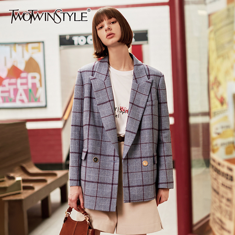 TWOTWINSYLE Casual Plaid Asymmetrical Suits For Women Notched Long Sleeve Hit Color Woolen Blazers Female Clothing Fashion 2019