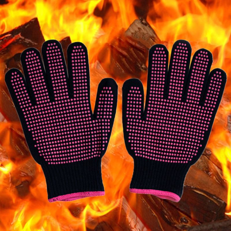 300 Centigrade Heat Resistant BBQ Gloves Cotton Silicone Non-Slip Hair Styling U90E