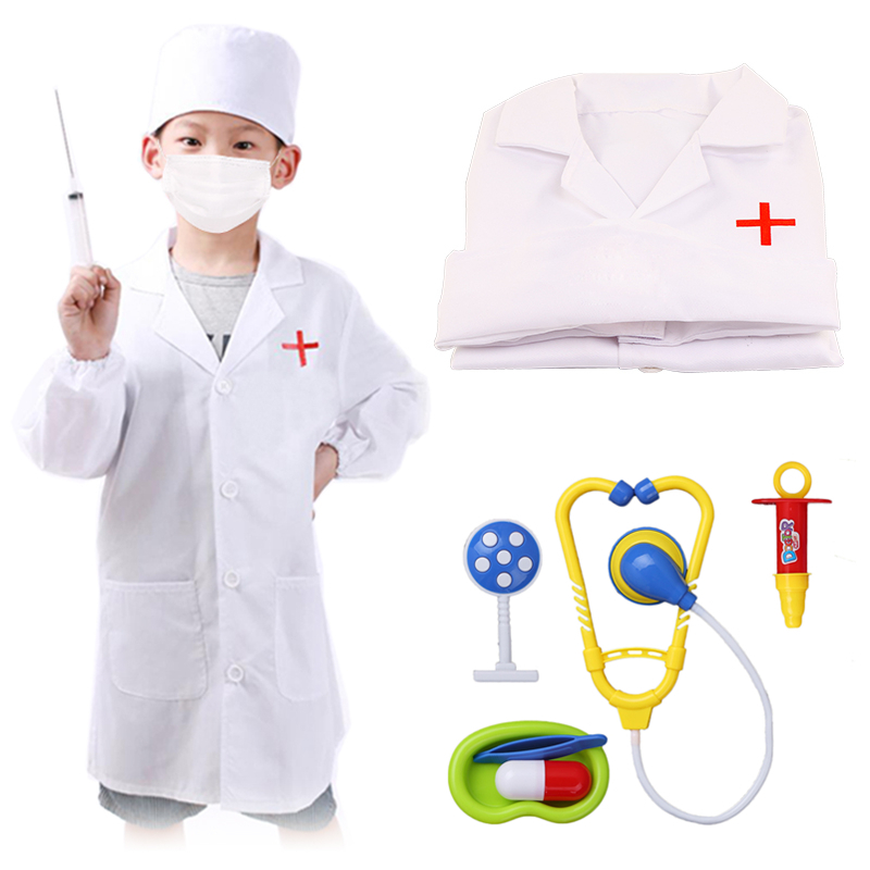 Kids Halloween Cosplay Costumes For Girls Nurse Uniform Hospital Surgical Doctors Carnival Party Stage Performance Clothing