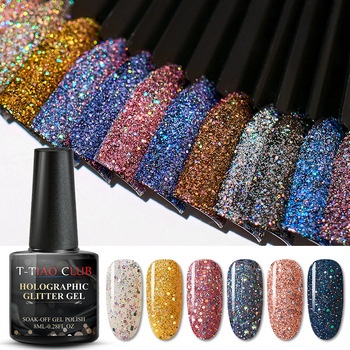 T-TIAO CLUB 8ml Color Gel Polish Holographic Colorful Glitter Sequins UV Soak Off Long Lasting Gel Polish Nail Art Varnish