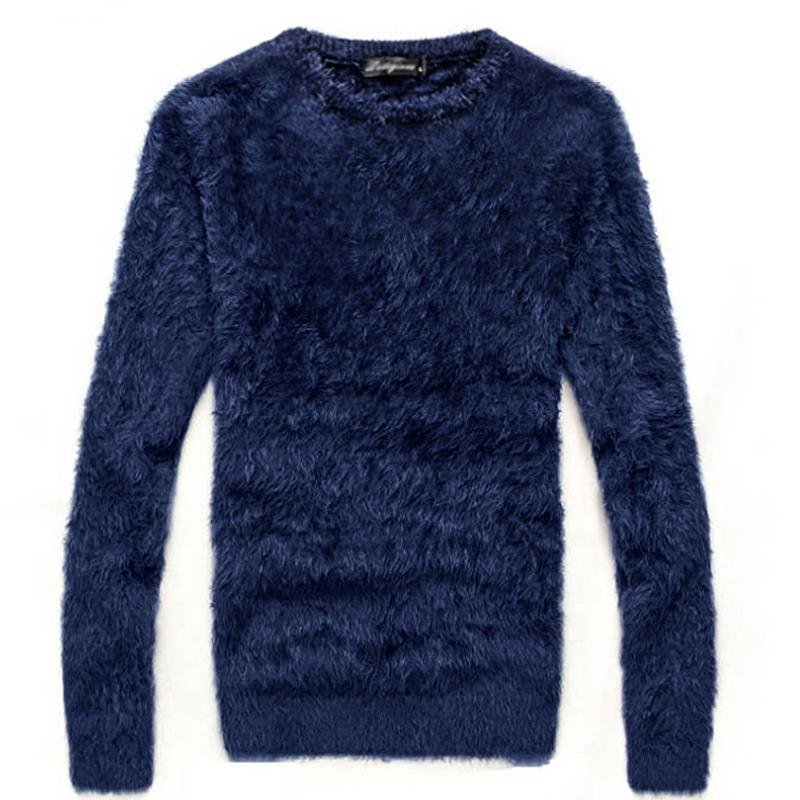 Sweater Men's Autumn And Winter Thick Mohair Long-sleeved O-neck Knit Pullover / Fashion Hot Slim Slim Thick Warm Sweater Male