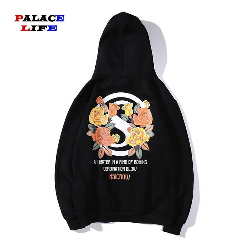 Harajuku для мужчин хип хоп Роза печати флис плюс бархатное худи Уличная Повседневная Толстовка Мужская пуловер Толстовка хлопок