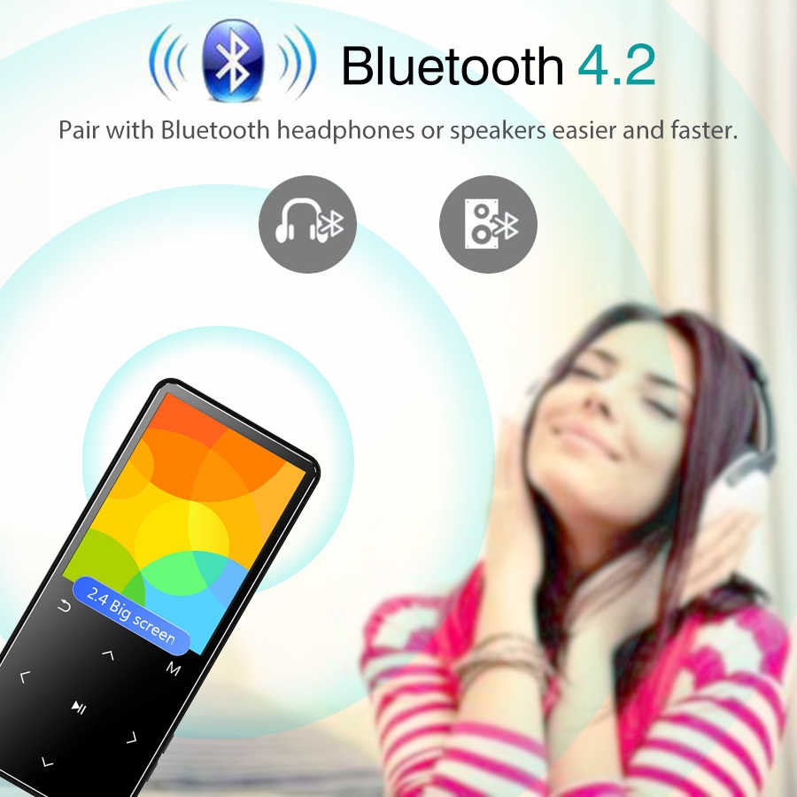 "MP3 Player with Bluetooth FM Radio Speaker Headphones Touch Keys 2.4"" Screen HiFi Walkman Sport MP 3 Flac Music Player for kids"