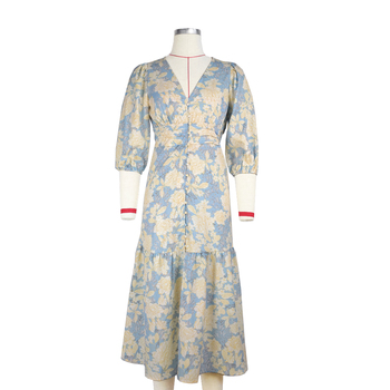 Women's Summer V-neck Printed poplin Floral Midi  maxi dress 3/4 sleeve female casual straight dresses  chic  length dress stylish plunging neck 3 4 sleeve wave printed maxi dress for women